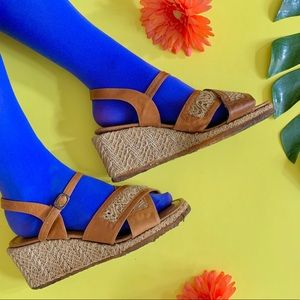 Vintage 70s woven leather wedge sandals 7.5/8